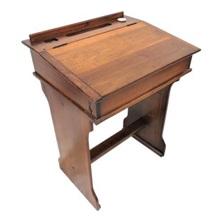 Antique English Child's Primary School Lift Top Desk With Ink Well For Sale