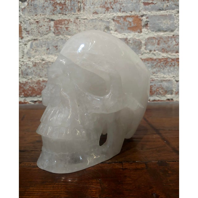 Vintage Quartz Rock Crystal Skull Sculpture For Sale In Los Angeles - Image 6 of 11