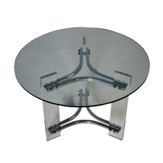 Charles Hollis Jones Lucite Chrome and Glass Table For Sale