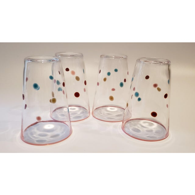 Boho Chic Polka Dot, Pink-Rimmed Hand-Blown Tumblers - Set of 4 For Sale - Image 3 of 7
