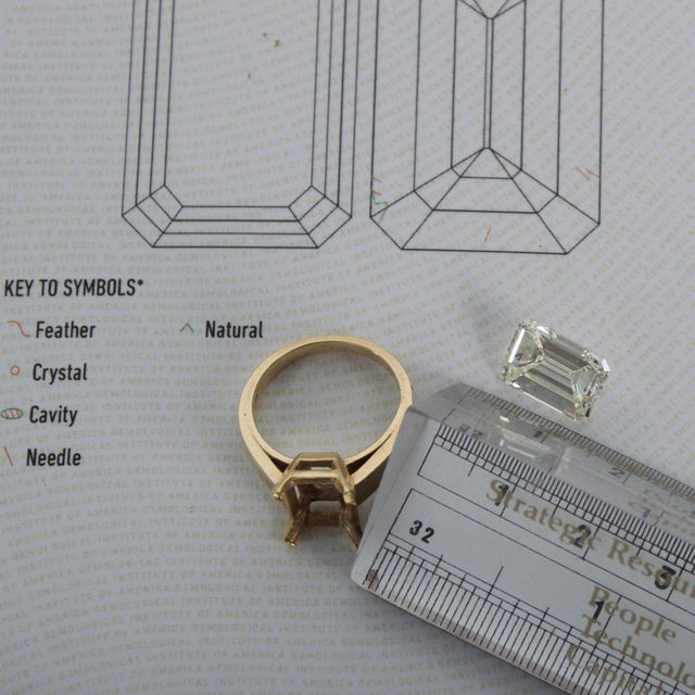 For your consideration: A stunning GIA Certified Emerald Cut Diamond 4.08 Carat, N/VS2. Reference #: ACCGM122319 Very good...