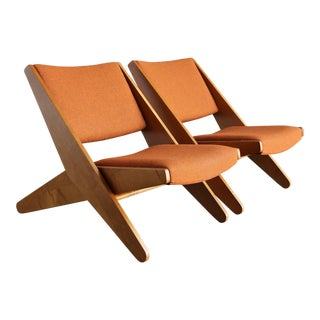 "Mid-Century Modern Rare Ficks Reed Co ""Ficks Folder"" Lounge Chairs - a Pair"