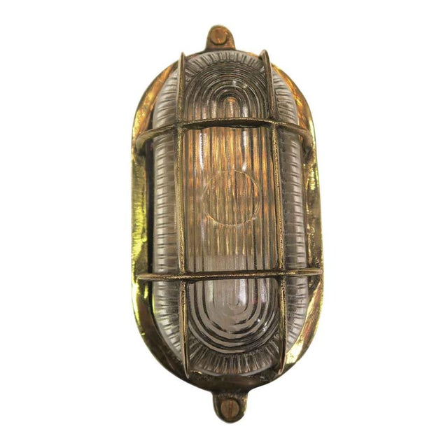 Mid-Century Nautical Oval Caged Flush Mount Ship Light For Sale - Image 6 of 6