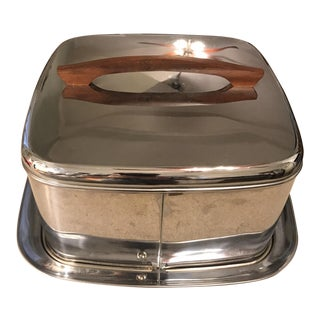 Mid-Century Chrome & Teak Cake Dome For Sale