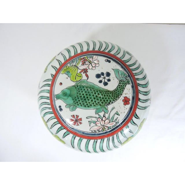 Ceramic 'Kangxi' Chinese Pink & White Lotus Flower Porcelain Ginger Jar With Green and Blue Fish For Sale - Image 7 of 10