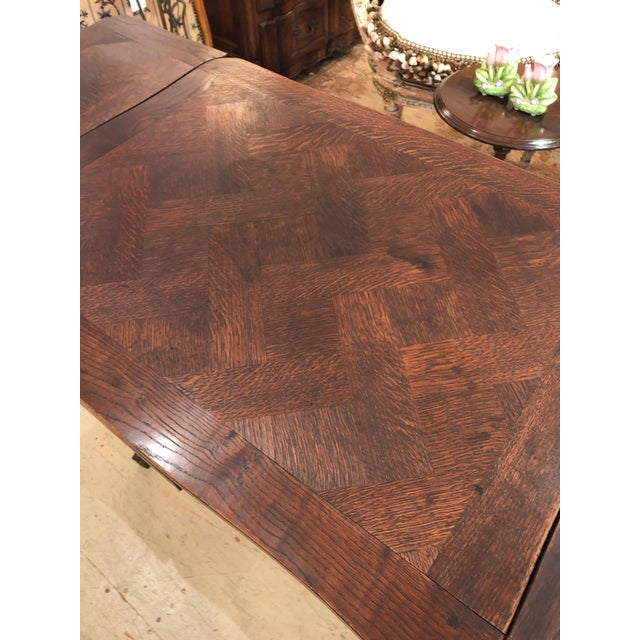 French Country French Country Small Parquetry Walnut Refractory Table For Sale - Image 3 of 11