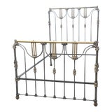 Image of Antique French Tall Cast Iron & Brass Queen or Full Size Bedframe For Sale