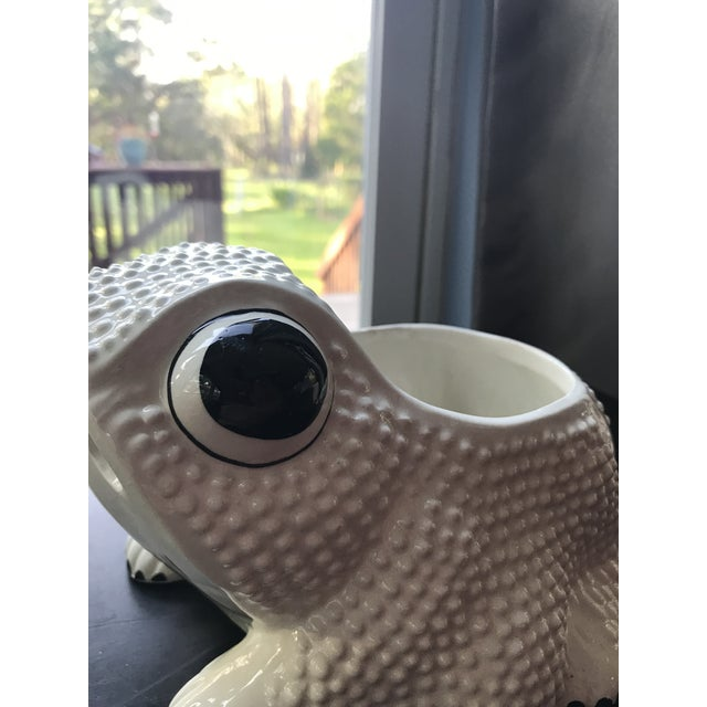 Italian Vintage Mid Century Hobnail Textured Italian Frog Planter For Sale - Image 3 of 9