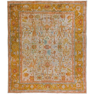 Oversize Antique Turkish Oushak Rug, 14' X 16'1'' For Sale