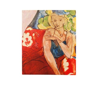 "1940s Henri Matisse ""Girl on a Red Background"" Original Period Swiss Lithograph For Sale"