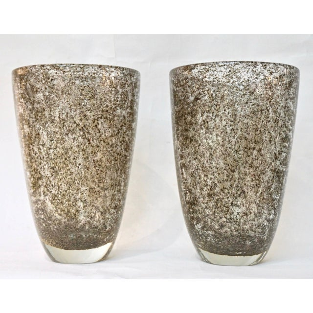 Alberto Dona Italian Bronze Color Murano Glass Vases With Brass Dust - a Pair For Sale - Image 10 of 11