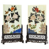 Image of Antique Pair of Chinese Carved Gemstone Table Screens on Wooden Bases For Sale