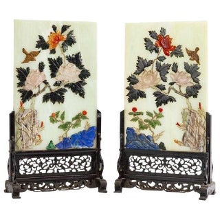 Antique Pair of Chinese Carved Gemstone Table Screens on Wooden Bases For Sale