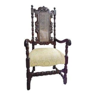 "Early 20th Century Vintage ""King's"" Baroque Style Chair With Cain Back For Sale"