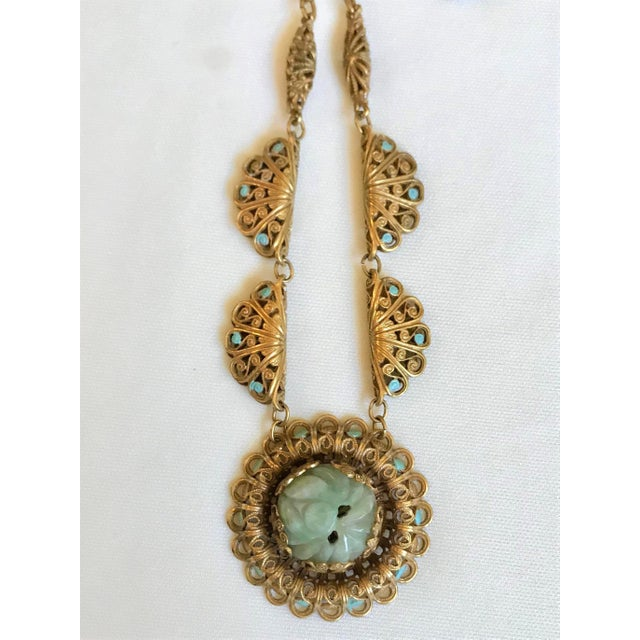 1930s Carved Jade and Enameled Brass Necklace For Sale - Image 4 of 6