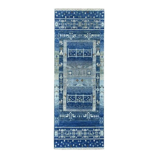 Denim Blue Kashkuli Gabbeh Pictorial Wool Hand Knotted Runner For Sale