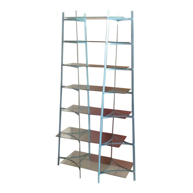Mid-Century Industrial Metal Glass Shelving Unit - Image 1 of 10