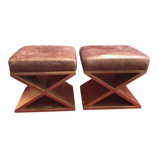 Lenny Kravitz Design Leather Stools - a Pair For Sale