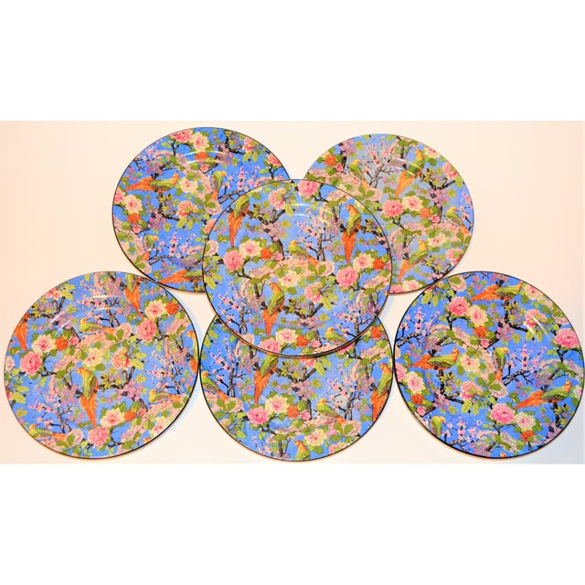 1920's Antique Crown Ducal Blue Chintz Plates - Set of 6 For Sale - Image 11 of 11