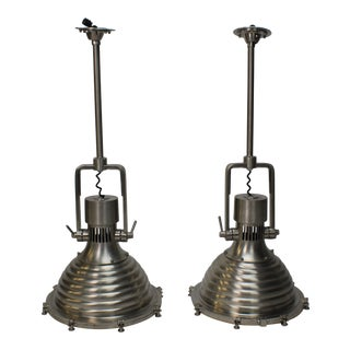 Urban Archaeology Large Cargo Pendant Lamps - a Pair