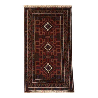 Traditional Hand Knotted Purple, Fuchsia, Brown, White and Green Baluchi Rug - 3′9″ × 6′5″ For Sale