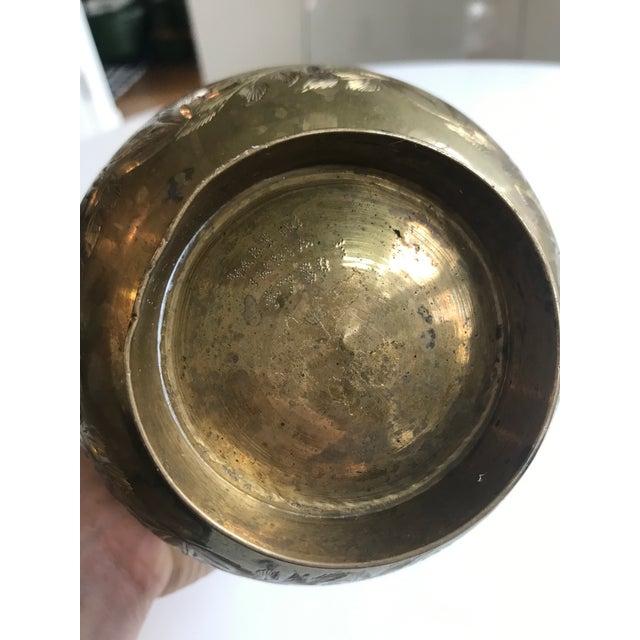 Vintage Brass Etched Vase For Sale - Image 4 of 4