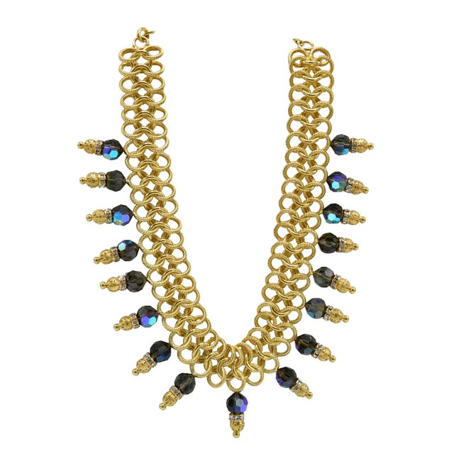 Blue Italian Costume Runway Necklace in Gold and Blue by Justin Joy For Sale - Image 8 of 8