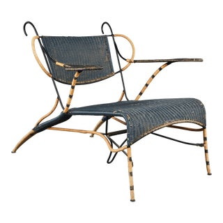 Sculptural Italian Black and Natural Wicker Chair Over a Steel Frame For Sale
