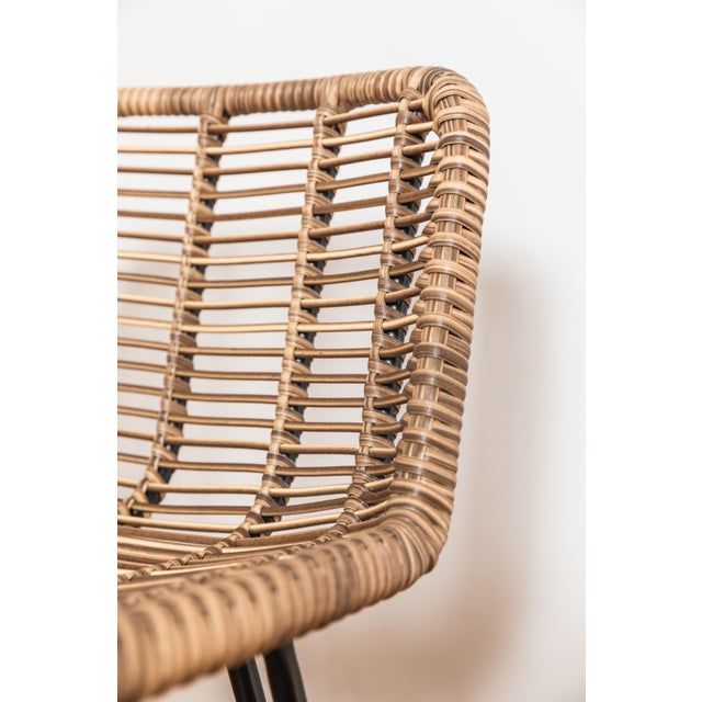 Tan Asher and Rye Woven Natural Fiber Outdoor Barstools - Set of 3 For Sale - Image 8 of 9