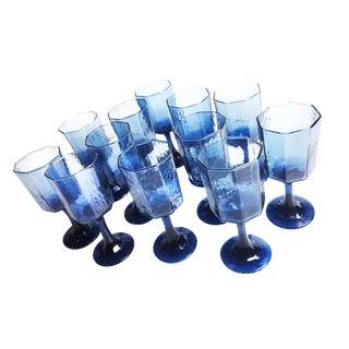 Vintage Cobalt Blue Stemmed Wine Glasses - Set of 12