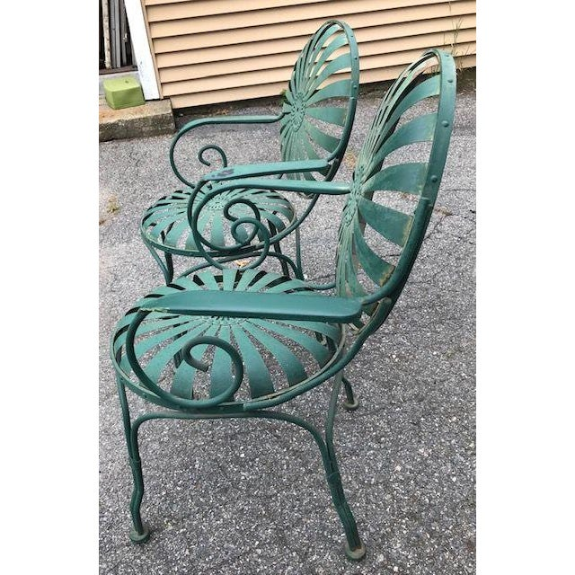 Francois Carre Style French Sunburst Spring Steel Deauville Garden Chairs - A Pair For Sale - Image 10 of 12
