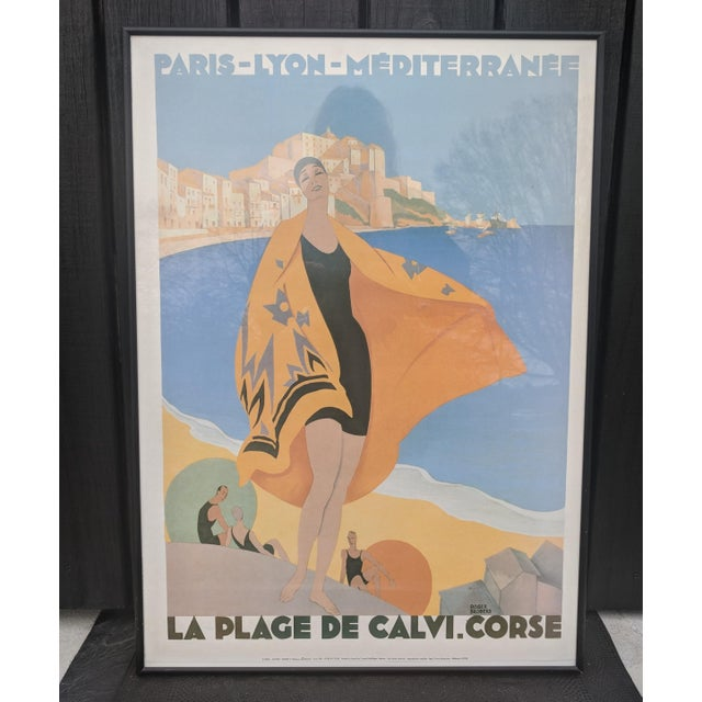 Print Illustration of classic Art Deco poster that is bold and colorful. The poster captures the essence of vacation...