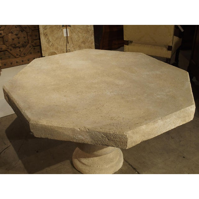 Limestone Carved Octogonal Limestone Table from Provence France For Sale - Image 7 of 9