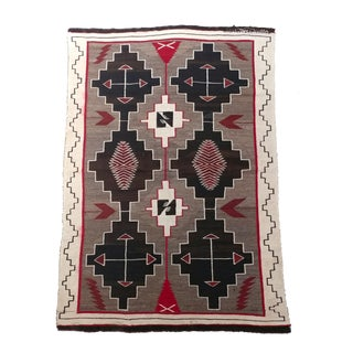 Navajo beautiful Hand Woven Wool Rug w/intricate Geometrics-c1920 For Sale