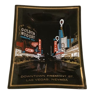 Mid-Century Las Vegas Commemorative Smoked Glass Tray For Sale