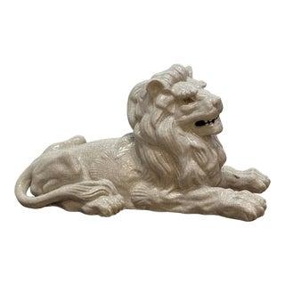 1980s Vintage Terracotta Lion White Glaze For Sale