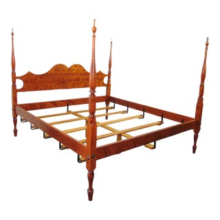 J L Treharn Benchmade Tiger Maple King Size Poster Bed For Sale
