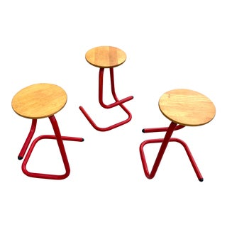 1970's Amisco Paperclip Stools- Set of 3 For Sale