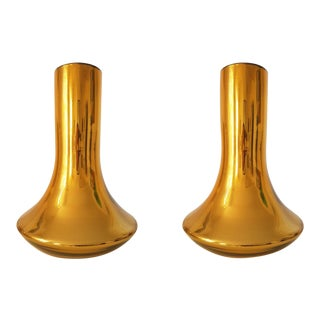 Large Mid-Century Modern Gold Mirrored Murano Glass Vases - a Pair For Sale