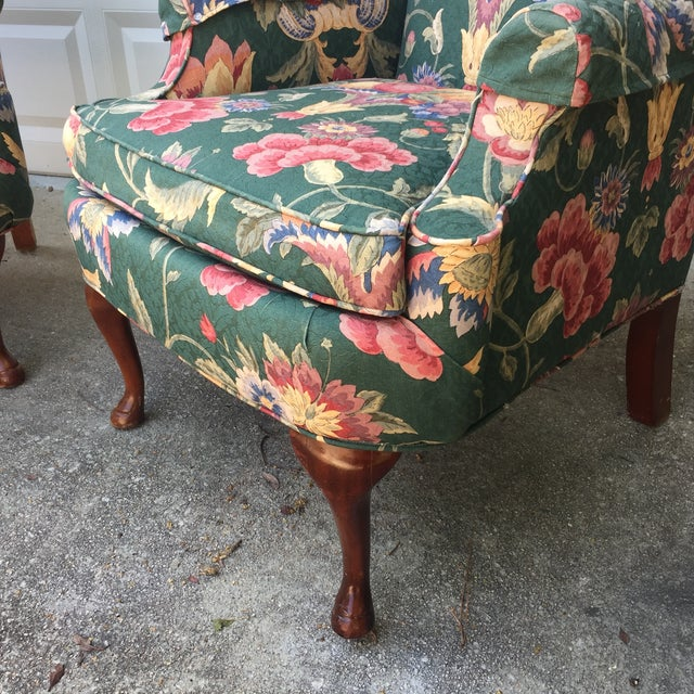 Green & Blue Floral Upholstered Wingback Flare Chairs- A Pair - Image 3 of 7
