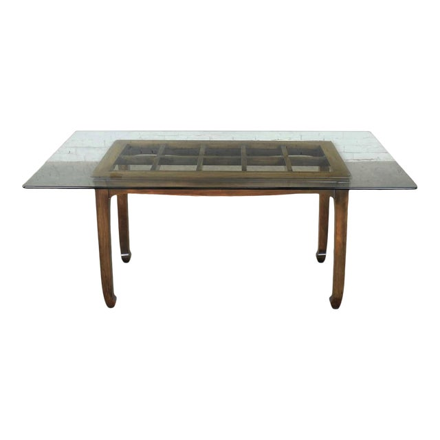 Vintage Chinoiserie Chow Leg Glass Top Dining Table Walnut Color Finish For Sale