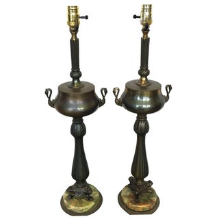 Art Nouveau Lamps of Aged Brass, Bronze and Green Onyx Marble With Swan Detail- a Pair For Sale