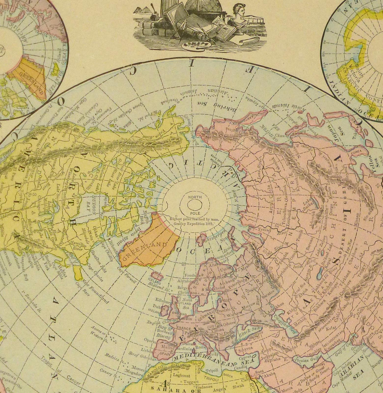 1890 World Map.World Map 1890 Chairish