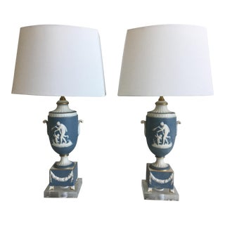 1950s Italian Jasperware Lamps & Shades - a Pair For Sale