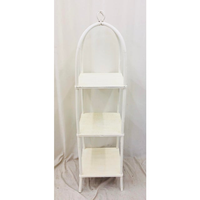 Stunning Vintage Mid Century Woven Wicker & Bent Rattan Standing Etagere Shelf Painted White. Solid sturdy tight and...