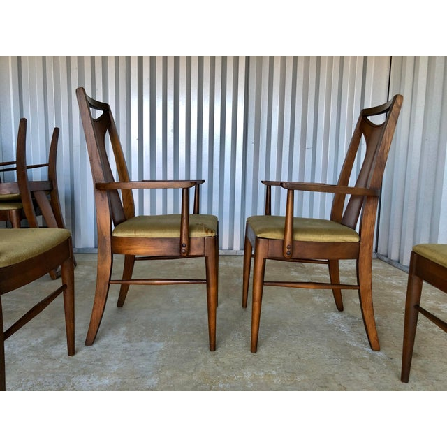 Brown Mid Century Modern Kent Coffey Dining Chairs-Set of 6 For Sale - Image 8 of 10