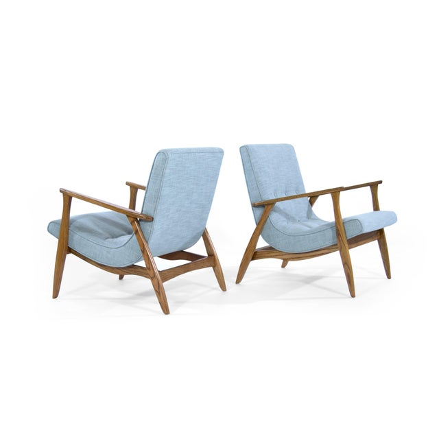 Modernist Scoop Oak Linen Upholstered Lounge Chairs - a Pair For Sale - Image 4 of 10