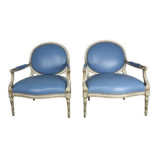 Pair of Neoclassical Style Silvered Leather Armchairs