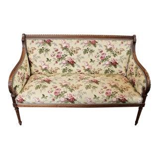 Antique Louis XVI Floral Settee For Sale