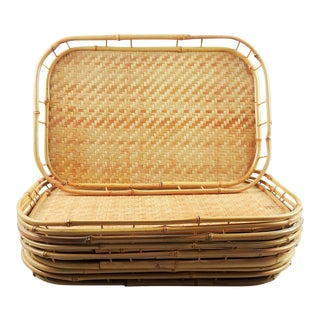 Bamboo Rattan Tiki Trays - Set of 8 For Sale